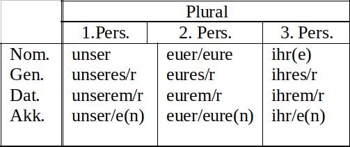 Possessivpronomen Plural